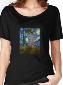 Monet Umbrella on a Starry Night Women's Relaxed Fit T-Shirt