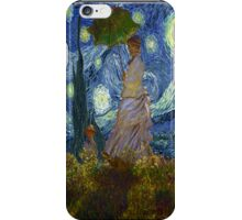Monet Umbrella on a Starry Night iPhone Case/Skin