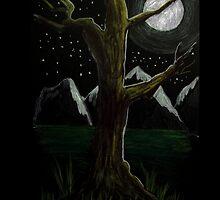 Dark Night Tree iPad case by jansimpressions