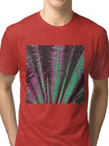 Teal and Pink Modern Tropical Palm Fronds Tri-blend T-Shirt