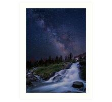 Waterfall at night Art Print