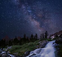 Waterfall at night by Wojciech Dabrowski