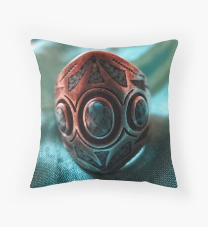turquois ring Throw Pillow