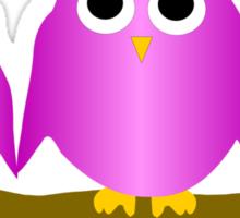 Purple Owls On A Branch Sticker
