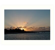 Sun burst over Shark Bay Art Print