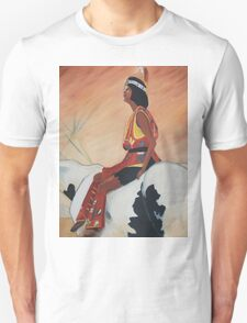 Native American Woman on Horseback by Suzanne Marie Leclair T-Shirt