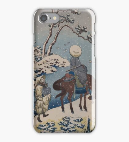 Two travelers one on horseback on a precipice or natural bridge during a snowstorm 001 iPhone Case/Skin