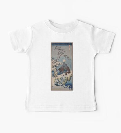 Two travelers one on horseback on a precipice or natural bridge during a snowstorm 001 Baby Tee