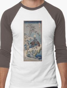 Two travelers one on horseback on a precipice or natural bridge during a snowstorm 001 Men's Baseball ¾ T-Shirt