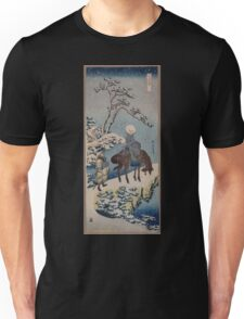 Two travelers one on horseback on a precipice or natural bridge during a snowstorm 001 Unisex T-Shirt