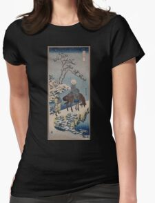 Two travelers one on horseback on a precipice or natural bridge during a snowstorm 001 Womens Fitted T-Shirt