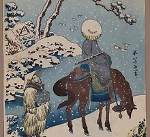 Two travelers one on horseback on a precipice or natural bridge during a snowstorm 001 by wetdryvac