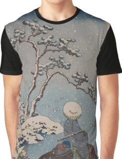 Two travelers one on horseback on a precipice or natural bridge during a snowstorm 001 Graphic T-Shirt