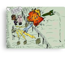 Barack and Bibi review the rocket-repelling Iron Dome Canvas Print