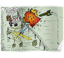 Barack and Bibi review the rocket-repelling Iron Dome Poster