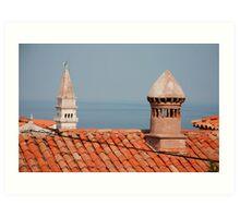 Chimneys in Piran, Slovenia Art Print