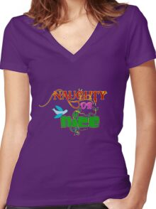 Naughty Or Nice - U Get To Choose with VivaChas! Women's Fitted V-Neck T-Shirt