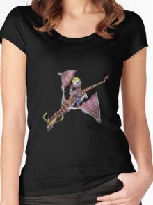 Ezreal riding Shyvana as Eragon with Saphira Women's Fitted Scoop T-Shirt