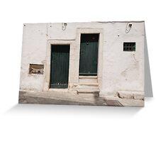 Green Doors in Ostuni Greeting Card