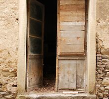 Old Wooden Door Ajar by jojobob