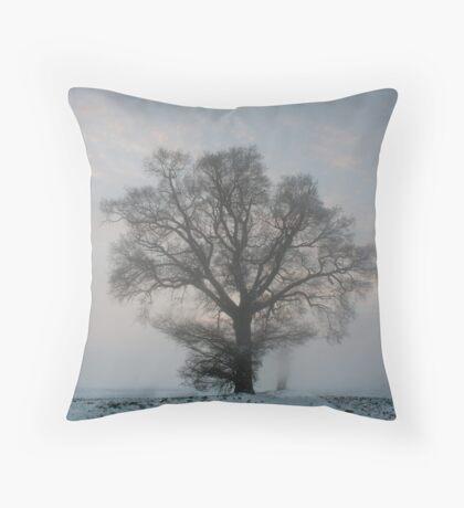 Tree & Freezing Fog,Bury St Edmunds,Suffolk Throw Pillow