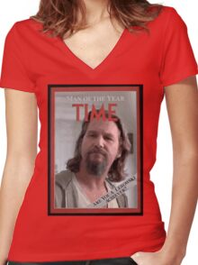 The Dude - Time Magazine Man of the Year Women's Fitted V-Neck T-Shirt
