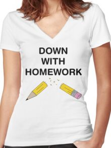 Down with Homework Women's Fitted V-Neck T-Shirt