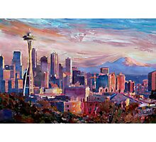 Seattle Skyline with Space Needle and Mt Rainier Photographic Print
