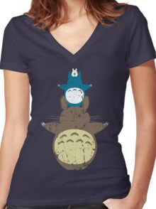 Totoro Totem Women's Fitted V-Neck T-Shirt