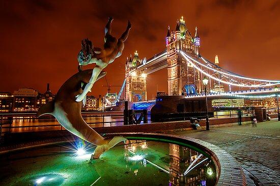 Dolphin Fountain, Tower Bridge, London by DonDavisUK
