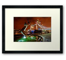 Dolphin Fountain, Tower Bridge, London Framed Print