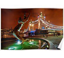 Dolphin Fountain, Tower Bridge, London Poster