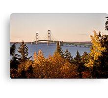 Mackinaw City Bridge Michigan Autumn Fall St Ignace Canvas Print