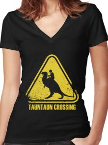 Beware! Tauntaun Crossing! Women's Fitted V-Neck T-Shirt