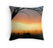 Cows grazing in the morning mist - Tongala - Victoria, Australia Throw Pillow