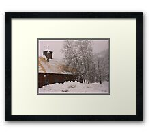 Barn and Birch in Snowstorm Framed Print