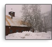 Barn and Birch in Snowstorm Canvas Print