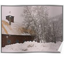 Barn and Birch in Snowstorm Poster