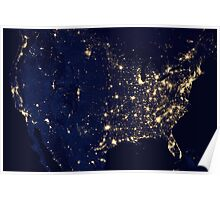 USA at Night from Space Poster