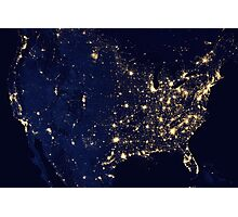 USA at Night from Space Photographic Print