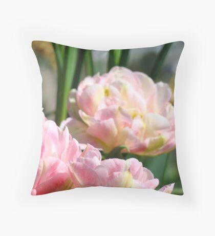 Pink Tulip Flowers Spring Tulips art prints Throw Pillow