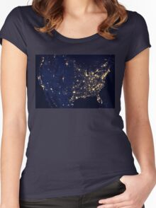 USA at Night from Space Women's Fitted Scoop T-Shirt