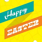 Retro Happy Easter Card - Yellow by rperrydesign