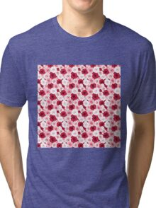 Stylish romantic trendy red pink roses floral Tri-blend T-Shirt