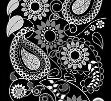 Paisly Patterns with Flowers, leaves & Circles by walstraasart