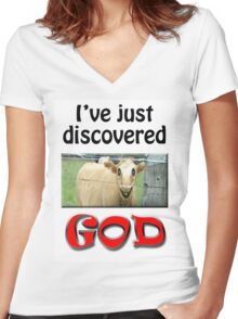 I JUST DISCOVERED GOD Women's Fitted V-Neck T-Shirt