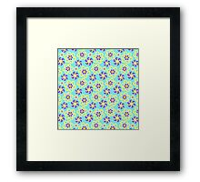 Abstract purple yellow retro flowers pattern  Framed Print