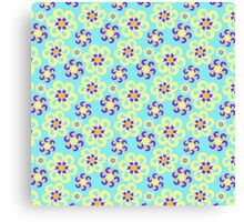 Abstract purple yellow retro flowers pattern  Canvas Print