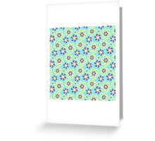 Abstract purple yellow retro flowers pattern  Greeting Card