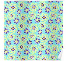 Abstract purple yellow retro flowers pattern  Poster